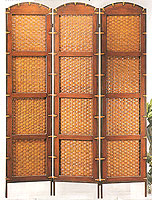 71inch Pahala Rattan Wooden 3 panel Screen