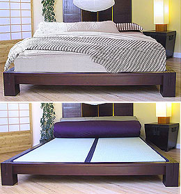 platform beds low platform beds japanese solid wood bed frame - Wood Bed Frames Queen