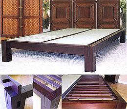 Tall Tatami Platform Bed Frame Dark Walnut