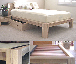 tall tatami platform bed frame natural finish