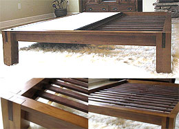 TALL Tatami Platform Bed Frame - Honey Oak