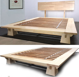 wakayama platform bed frame natural finish - Solid Wood Platform Bed