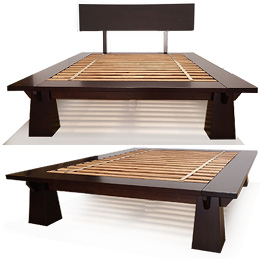 tall wakayama platform bed frame dark walnut