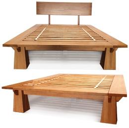 TALL Wakayama Platform Bed Frame - Honey Oak